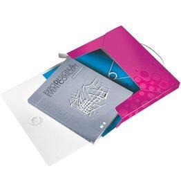 LEITZ Dokumentenbox WOW, PP, Gummizugverschluss, A4, pink, metallic