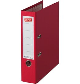 STAPLES Ordner Premium, PP, Einsteckrückensch., m.Griffloch, A4, 80mm, rot