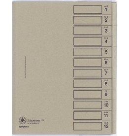 DONAU Ordnungsmappe, Karton (RC), A4, 24,3 x 30,7 cm, 12 Fächer, grau