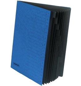 STAPLES Ordnungsmappe, Karton, Eckspanngummi, A4, 12 Fächer, blau