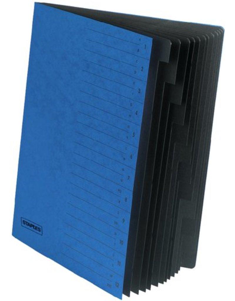 Staples Ordnungsmappe Karton Eckspanngummi A4 12 Fächer Blau