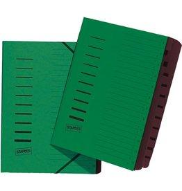 STAPLES Ordnungsmappe, Karton, Eckspanngummi, A4, 12 Fächer, grün