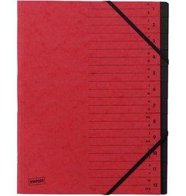 STAPLES Ordnungsmappe, Karton, Eckspanngummi, A4, 12 Fächer, rot