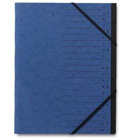 STAPLES Ordnungsmappe, Karton, Eckspanngummi, A4, 7 Fächer, blau