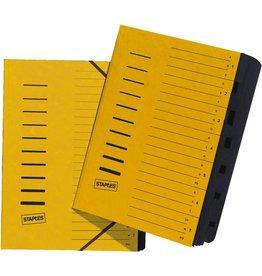 STAPLES Ordnungsmappe, Karton, Eckspanngummi, A4, 7 Fächer, gelb