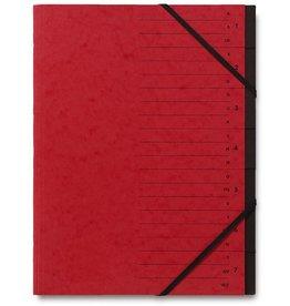 STAPLES Ordnungsmappe, Karton, Eckspanngummi, A4, 7 Fächer, rot