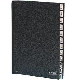 STAPLES Pultordner, Hartpap.(RC), 1-12, A4, 27x34cm, 12 Fä., schwarz