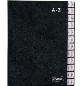 STAPLES Pultordner, Hartpap.(RC), A-Z, A4, 27x34cm, 24 Fächer, schwarz