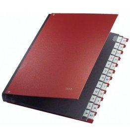 LEITZ Pultordner, PP-kasch., A-Z, A4, 27x34,5cm, 24 Fächer, rot