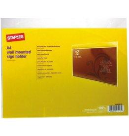 STAPLES Sichttasche, zur Wandbefestigung, A4 quer, farblos, glatt