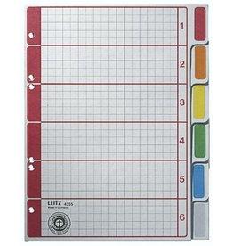LEITZ Register, Kart.(RC), 230g/m², blanko, 6f.Loch., A5, 6Bl., 6farb. Tabe