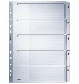 LEITZ Register, Kart., 160g/m², 1-5, A4, vo.Höhe, 5Bl., grau