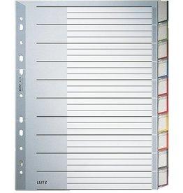 LEITZ Register, PP, 0,12mm, blanko, A4, vo.Höhe, ü, 10Bl., grau
