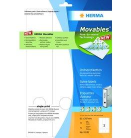 HERMA Rückenschild Movables®, sk, Spez.pap., breit/lang, 61x297mm, weiß
