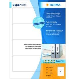 HERMA Rückenschild, sk, breit / kurz, 61 x 192 mm, weiß
