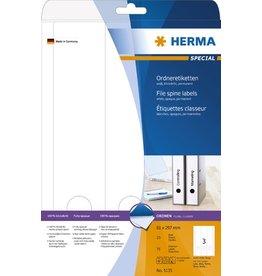 HERMA Rückenschild, sk, breit / lang, 61 x 297 mm, weiß