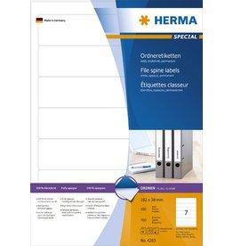 HERMA Rückenschild, sk, schmal / kurz, 38 x 192 mm, weiß