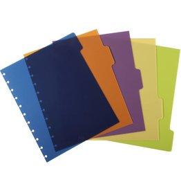 M BY STAPLES Register arc, PP, blanko, Speziallochung, A4, 5 Blatt, 5farbig