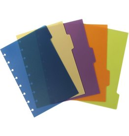 M BY STAPLES Register arc, PP, blanko, Speziallochung, A5, 5 Blatt, 5farbig