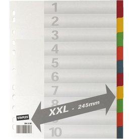 STAPLES Register XXL, Kart., 225g/m², Euroloch., A4, vo.Höhe, ü, 10Bl., weiß