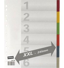 STAPLES Register XXL, Kart., 225g/m², Euroloch., A4, vo.Höhe, ü, 6Bl., weiß