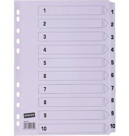 STAPLES Register, Karton, 170 g/m², 1-10, Eurolochung, A4, 10 Blatt, weiß