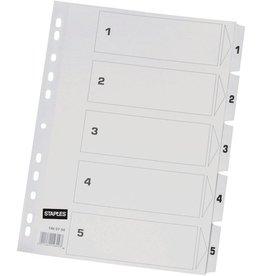 STAPLES Register, Karton, 170 g/m², 1-5, Eurolochung, A4, 5 Blatt, weiß