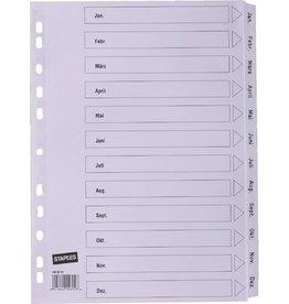 STAPLES Register, Karton, 170 g/m², Jan-Dez, Eurolochung, A4, 12 Blatt, weiß