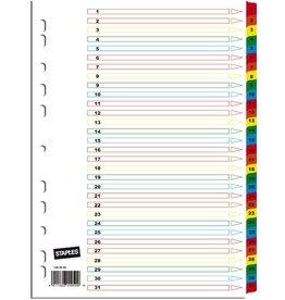 STAPLES Register, Karton, 170g/m², 1-31, Eurolochung, A4, 31 Blatt, weiß