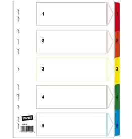 STAPLES Register, Karton, 170g/m², 1-5, Eurolochung, A4, 5 Blatt, weiß