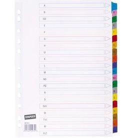 STAPLES Register, Karton, 170g/m², A-Z, Eurolochung, A4, 20 Blatt, weiß