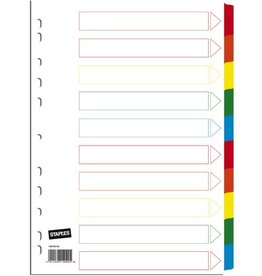 STAPLES Register, Karton, 170g/m², blanko, Eurolochung, A4, 10 Blatt, weiß