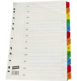 STAPLES Register, Karton, 170g/m², Jan-Dez, Eurolochung, A4, 12 Blatt, weiß