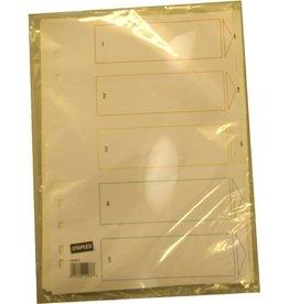 STAPLES Register, Kst., 1-5, Euroloch., A4, vo.Höhe, 5Bl., weiß