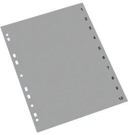 STAPLES Register, PP, 0,12mm, 1-10, A4, 10Bl., grau