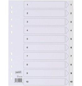 STAPLES Register, PP, 0,12mm, 1-10, Euroloch., A4, 10Bl., weiß