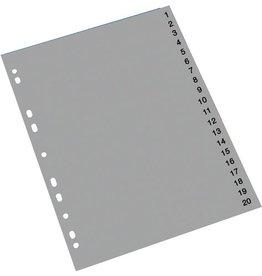 STAPLES Register, PP, 0,12mm, 1-20, A4, 20Bl., grau