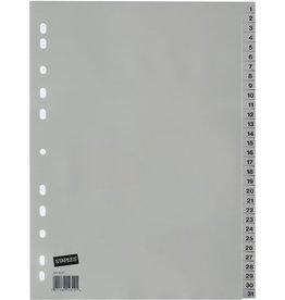 STAPLES Register, PP, 0,12mm, 1-31, A4, 31Bl., grau