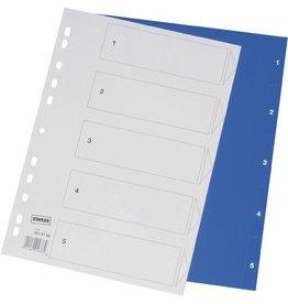 STAPLES Register, PP, 0,12mm, 1-5, Euroloch., A4, 5Bl., blau