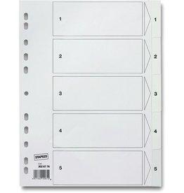 STAPLES Register, PP, 0,12mm, 1-5, Euroloch., A4, 5Bl., weiß
