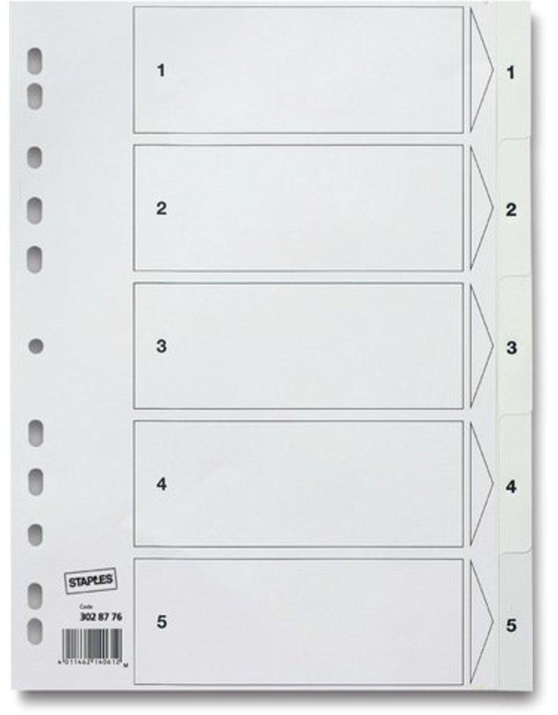 Staples Register Pp 0 12mm 1 5 Euroloch A4 5bl Weiß