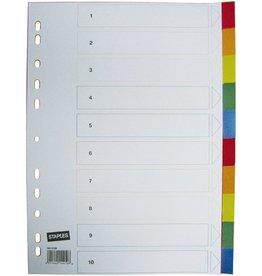 STAPLES Register, PP, 0,12mm, blanko, A4, 10 Blatt, 5farbig