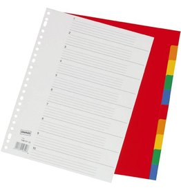STAPLES Register, PP, 0,12mm, blanko, A4, vo.Höhe, 10Bl., 5farb.