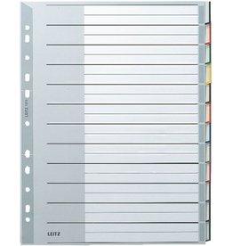 LEITZ Register, PP, 0,12mm, blanko, A4, vo.Höhe, ü, 24,1x30,5cm, 12Bl., grau