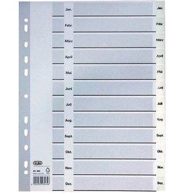 ELBA Register, PP, 0,15mm, Jan-Dez, A4, vo.Höhe, 23x29,7cm, 12Bl., weiß