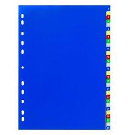 DURABLE Register, PP, 1-31, Univ.loch., A4, vo.Höhe, 31 Blatt, 5farb. Tabe