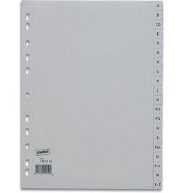 STAPLES Register, PP, A - Z, Euroloch., A4, vo.Höhe, 20 Blatt, grau