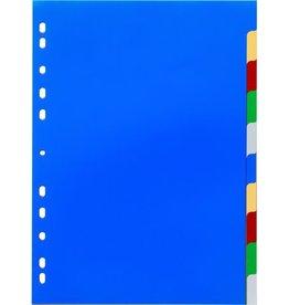 DURABLE Register, PP, blanko, Univ.loch., A4, vo.Höhe, 10 Blatt, 5farb. Tabe