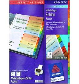 AVERY Zweckform Register, Spezialkarton, 190g/m², 1-10, A4, 10 Blatt, 5farbig
