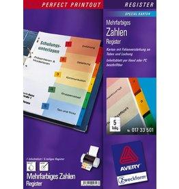 AVERY Zweckform Register, Spezialkarton, 190g/m², 1-5, A4, 5 Blatt, 5farbig